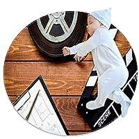 ソフトラウンドエリアラグ 70x70cm/27.6x27.6IN 滑り止めフロアサークルマット吸収性メモリースポンジスタンディングマット,映画カチンコロールフィルム木製