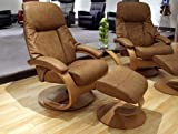 Fjords Giske Leather Recliner and Ottoman - Norwegian Ergonomic Scandinavian Reclining Chair in Chocolate Soft Line Genuine Leather - Large Teak Wood C Frame - in-Home Delivery and Setup