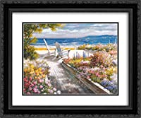 Path with Beach Chairs 2X Matted 24x20 Black Ornate Framed Art Print by T.C. Chiu