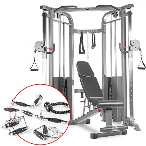 XMark Functional Trainer Cable Machine (XM-7626.1) with an Adjustable Flat Incline Decline Bench (XM-7630) and an Upgraded Accessory Package (XM-3710)