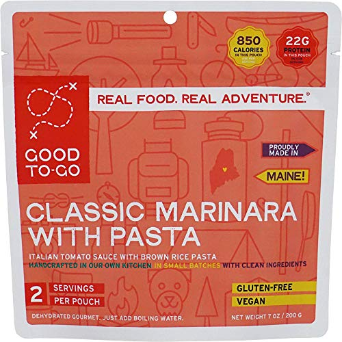 GOOD TO-GO Classic Marinara with Pasta – Double Serving | Dehydrated Backpacking and Camping Food | Lightweight | Easy to Prepare