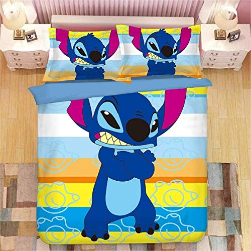 QWAS Stitch – Funda nórdica infantil con impresión 3D de dibujos animados y animación, adecuada para todas las estaciones (V01,140 x 210 cm + 50 x 75 cm x 2)