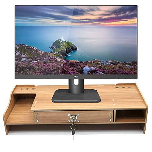 DH+ Soporte Vertical para Monitor Compuer con cajón, Construido con cajón de Almacenamiento, Adecuado para computadora portátil, Pantalla