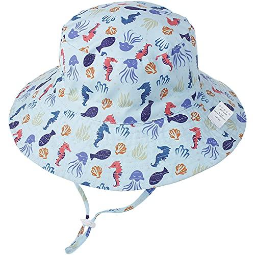 Unisexo Bebé Sombrero de Sol Hipocampo Gorro de Pescador Pequeños Infantil Verano Exteriores Protección Solar ala Ancha Gorro de Playa para 0-6 Meses Niña Niño