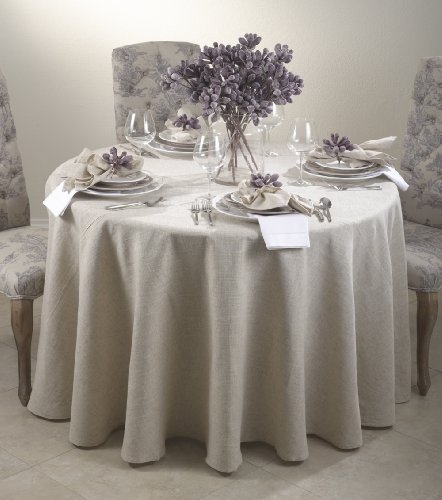 Toscana Classic Natural Round Tablecloth. One Piece. (96 Inch Round) by Fennco