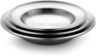 Dinner Plates Deepen 304 لوحة الفولاذ المقاوم للصدأ، لوحة مستديرة المنزلية، طبق، أدوات المائدة معزول مزدوجة، 3 قطع مجموعة،...