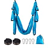 LiQinKeJi8 Ligero y Transpirable Herramienta de Inversion Honda Hamaca aérea Yoga Swing Yoga Set aérea Hamaca Trapecio Ultra Fuerte Antigravity Yoga (Color : Light Blue, Size : 250x150cm)