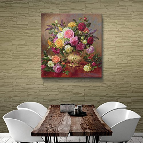 Art Wall williams-b-007-18x18-w Albert Williams 'Roses from a Victorian Garden' Gallery-Wrapped Canvas Artwork, 18 by 18-Inch