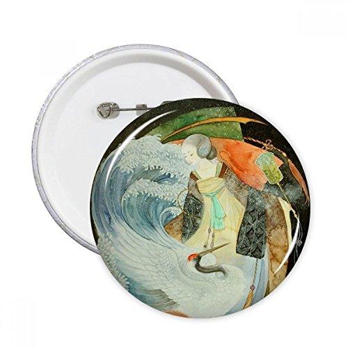 DIYthinker Weiß Crane Chinesische antike Illustrator Runde Stifte Abzeichen-Knopf Kleidung Dekoration Geschenk 5pcs Mehrfarbig XL
