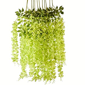 Romase 12 Pack 3.6 Feet/Piece Artificial Wisteria Vine Ratta Fake Wisteria Hanging Garland Silk Long Hanging Bush Flowers String Wedding Home Party Decor (Green)
