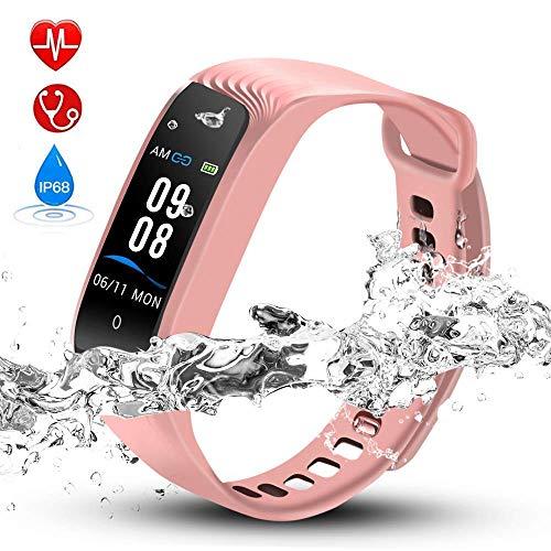 Hommie Fitness Tracker Waterproof Tracker Kalorienzähler, Schlaf-Monitor, Pulsmesser, Reminder Ersatzarmband Sportband für iOS & Android, Rosa