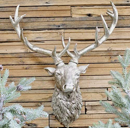 Oscar's Boutique Stags Head Wall Mounted Silver Antique Vintage Style Ornament