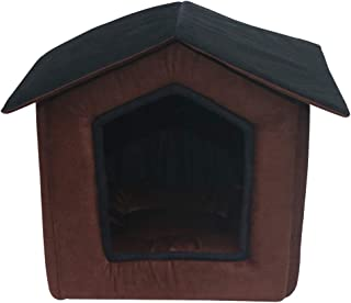 Mellifluous Small Size Dog and Cat Foldable House/Hut, Brown-Black