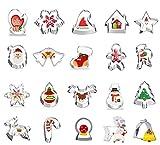 JIASHA Decorazioni Natalizie, 20pz Formine Biscotti Natalizie, Tagliabiscotti Natalizi Set, Stampini Forme Biscotti Natale, Tagliapasta per Biscotti Bakeware Fondente Torta Paletta - Acciaio Inox