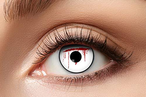 Eyecatcher 84080441-807 - Farbige Kontaktlinsen, 1 Paar, für 12 Monate, Weiß, Karneval, Fasching, Halloween