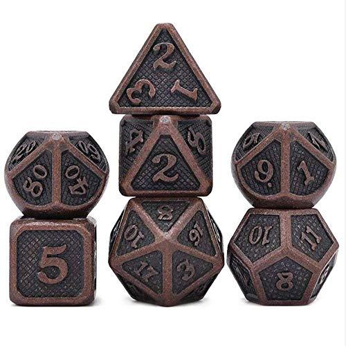 LinkLvoe Dadi in Metallo D&D Dungeons And Dragons Dadi Set di Dadi da Gioco Poliedrico 7 Pezzi Rpg Dice Gioco Comodo da Trasportare per Iochi di Carte,Giochi da Tavolo,Apprendimento della Matematica
