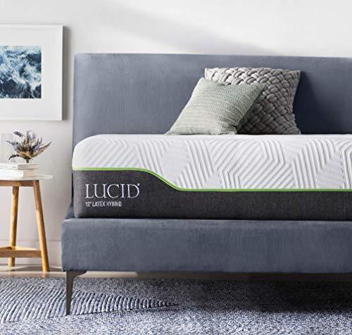 LUCID 12 Inch King Latex Hybrid Mattress - Memory Foam - Responsive Latex Layer - Premium Steel Coils - Medium Firm Feel - Temperature Neutral