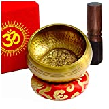TARORO Cuenco Tibetano Ø12cm, Hecho a mano en Nepal ~ Diseño antiguo original ~ Vendido con un cojín de seda roja, un...