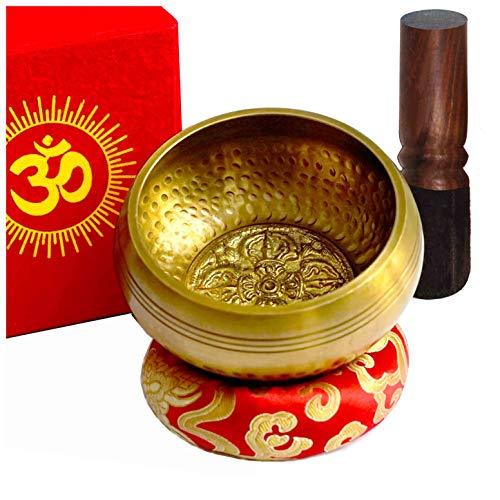 TARORO Cuenco Tibetano Ø12cm, Hecho a mano en Nepal ~ Diseño antiguo original ~ Vendido con un cojín de seda roja, un mazo y caja de papel Lotka roja ~ Para meditación de yoga ~ Un Regalo espiritual
