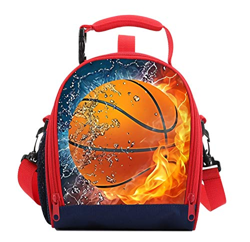 Kids Lunch Box For Boys Resuable Multi Convertible Insulated Thermal Boys Lunch Bags Tote With Shoulder Strap Lunch Box Backpack Sandwich Snack Bags Girls For School 3D Basketball Lunch Bags For Kids