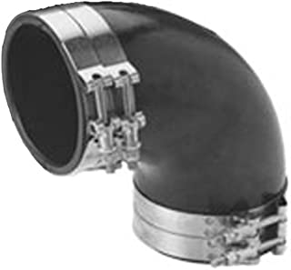 Trident Marine Trl-590-S/S Black Epdm Rubber 90-Degree Marine Wet Exhaust Elbow with 4 Stainless Steel T-Bolt Clamps,  5,  250-Degree Fahrenheit