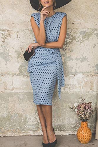 Vestido De Cóctel Lunares Sin Mangas Elegantes Vintage Verano Lápiz Vestidos De Fiesta Mujer Cortos Azul Claro XXL