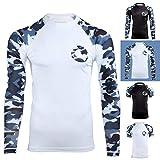 Gold BJJ Jiu Jitsu Rashguard - Camo Long Sleeve Rash Guard Compression Shirt for No-Gi, Gi, & MMA (White Camo, XL)
