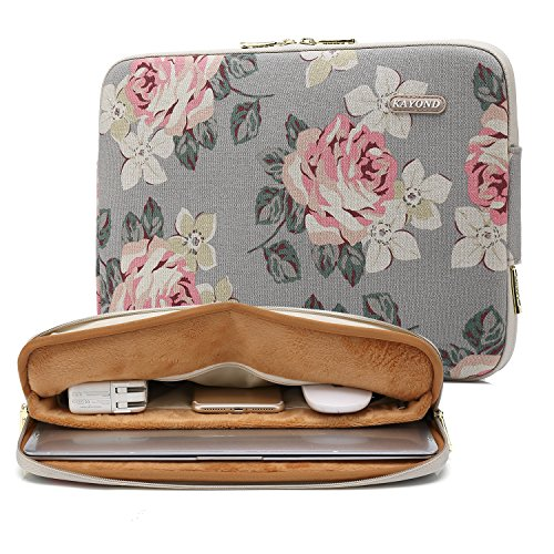KAYOND Gray Rose Pattern Water-resistant 12.5 inch 13 inch Canvas laptop sleeve with pocket for 13.3 inch laptop case macbook air pro 13 sleeve ipad 12.9 (13-13.3 Inch, Gray Rose)