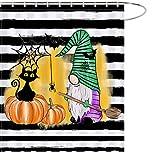 MAEZAP Herbst Halloween Kürbis Katze Zwerg Duschvorhang Streifen Bauernhaus Badezimmer Dekor Wasserdicht Polyester mit Haken 170 x 177 cm