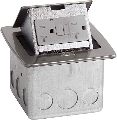 Lew Electric PUFP-CT-SS Pop Up Outlet Box for Countertops, Waterproof 20 Amp GFCI Receptacle for Kitchens, Offices, and More - Stainless Steel