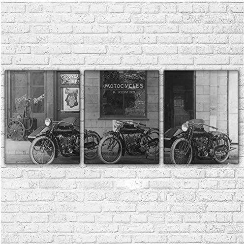 Zwarte en witte driewieler HD Prints Foto's Home Decor 3 Stuks Canvas Schilderijen Retro Drie Wielen Motorfiets Poster -40x50cmx3pcs -Geen Frame