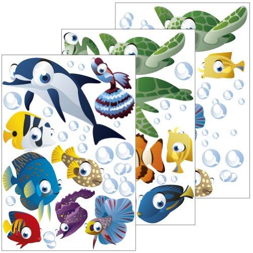 Wandsticker Unterwasserwelt/Fische/Ozean - Wandtattoo für Kinderzimmer/Kinder/Badezimmer (Junge oder Mädchen) - 75-teiliges Set auch als Geschenk