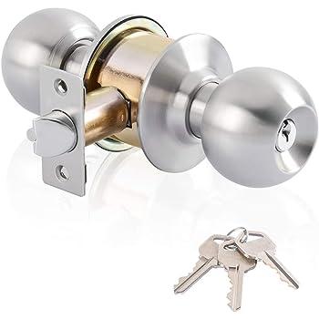 Key Set Bathroom Room Stainless Round Door Knob Handle Entrance Passage Lock