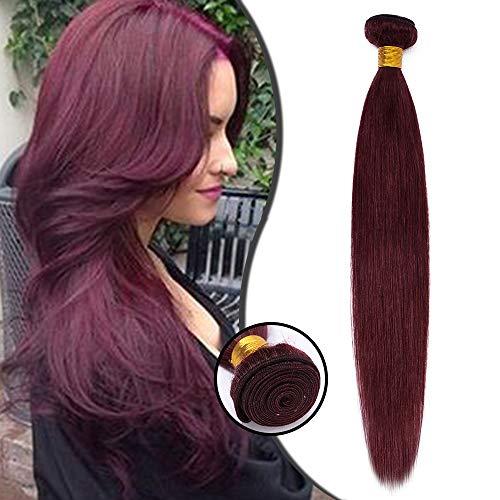 Tissage Extension Cheveux Naturel Vrai Cheveux Humain Lisse - Meches Rajout Cheveux Sans Clips (#99J VIN ROUGE, 30cm-100g)