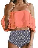 Tempt Me Women Two Piece Swimsuit High Waisted Ruffled Flounce Bikini Orange M