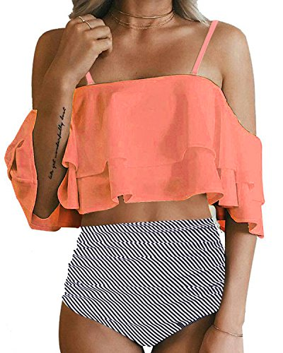 Tempt Me Women Two Piece Swimsuit High Waisted Ruffled Flounce Bikini Orange S