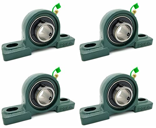"Four (4) UCP205-16 Cast Iron Pillow Block Mounted Bearings - 1"" Inch Inside Diameter w/Set Screw Lock - P205"