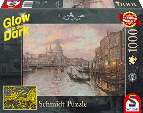 Schmidt Spiele- Thomas Kinkade-Puzzle da 1000 Pezzi Le Strade di Venezia Glow in The Dark, Multicolore, 59499