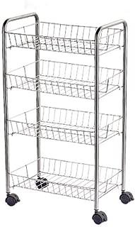 li@ 304 Stainless Steel Kitchen Rack Removable, Storage Organizer Serving Trolley Cart for Kitchen, Bathroom, Locking Casters