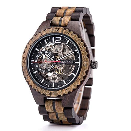 Reloj de pulsera para hombre, clásico, caoba, automático, mecánico de madera, esfera digital, reloj de madera marrón para hombre y mujer, reloj automático de madera natural con base de crista