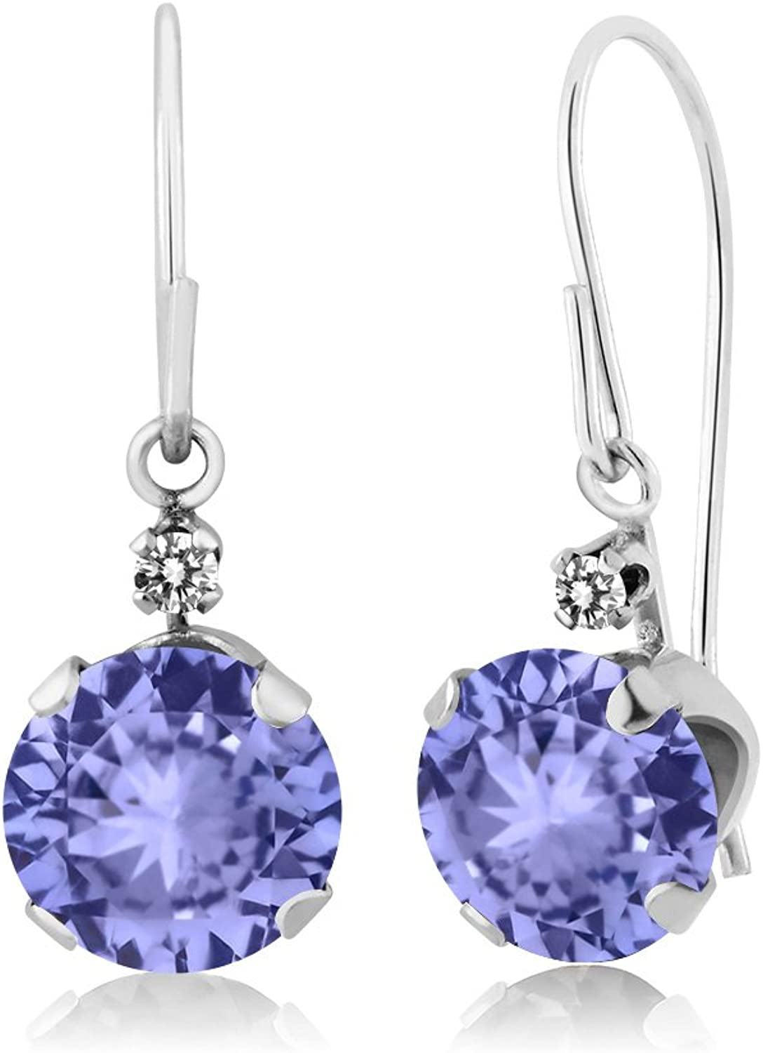 1.83 Ct Round bluee Tanzanite White Diamond 14K White gold Earrings