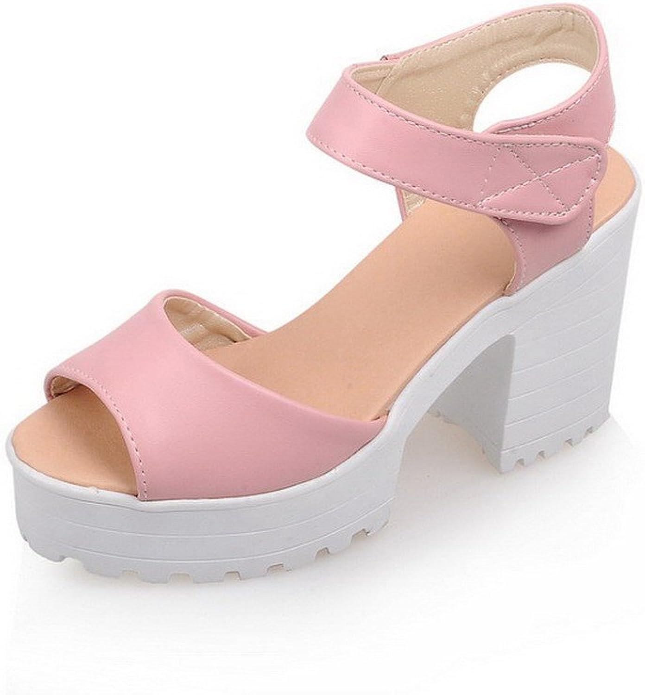 AmoonyFashion Women's PU Solid Hook-and-Loop Open Toe High-Heels Heeled-Sandals
