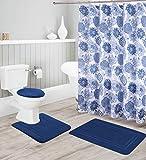 Better Home Style 16 Stück einfarbiges modernes Design geprägtes Memory-Schaum Badezimmerteppich Set inklusive Badvorleger, Konturmatte, Deckelbezug, Duschvorhang & 12 Haken Marineblau