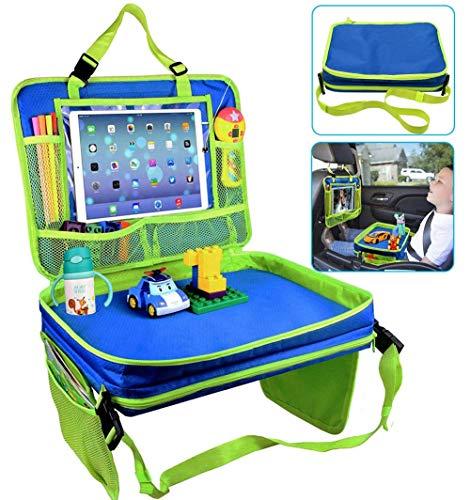 Gelible Kinderautositz Travel Tray, abnehmbare Kleinkind Snack Play Trays mit Getränkehalter, abnehmbare Netztaschen Lap Organizer für Kinderwagen, Aktivität, Lernen und Reise (blau)