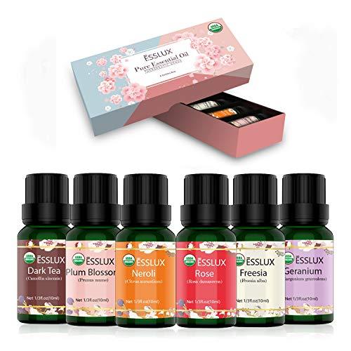 Huiles Essentielles Aromathérapie Naturelle 100% Pures 6 * 10ml, ESSLUX Huile Essentielle pour Diffuseurs(Néroli, Géranium, Rose, Freesia, Thé noir, Fleur de prunier)