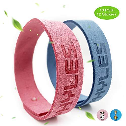 PHYLES Bracelets Anti-Moustiques, 10 Bracelets+12 Autocollan