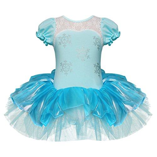 TiaoBug Mädchen Kleid Ballettkleid Prinzessin Kostüm Tanzkleid Ballettanzug Party Festzug Cosplay Weiß+Blau 110-116