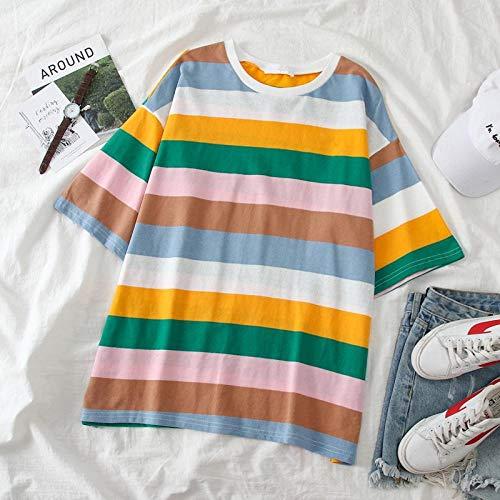 T Shirt Couple Vêtements Rainbow Stripe Tops Tee Shirt Femmes Football Shirt Pull Summer Women-Multi_XL
