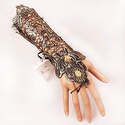 Liyuzhu Damen Spitze Armband Steampunk Stil Spitze Handschuhe mit Armband Ring Armband Skid Resistant Handschuhe Goth Halloween Hochzeit Zubehör (Farbe : Gold)