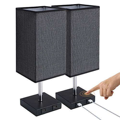 Glighone Lámpara de Mesa Regulable, Lámpara de Mesita de Noche con 2 USB, LED Luz Mesita Negro Pantalla de Tela Control Táctil Lámpara Escritorio Cuadrado para Dormitorio Salon, Bombilla Incluida